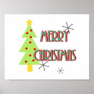 Poster arbre moderne de Joyeux Noël de la moitié du