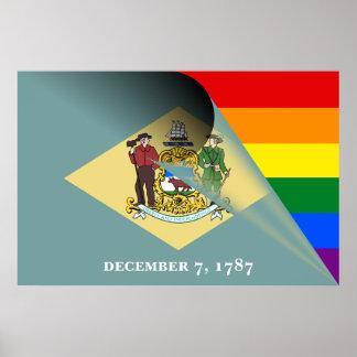 Poster Arc-en-ciel de gay pride de drapeau du Delaware