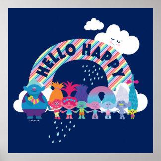 Poster Arc-en-ciel heureux des trolls  