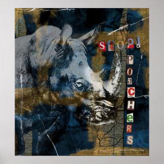 Poster Arrêtez l'art de conservation de faune de