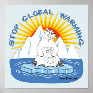 Poster Arrêtez les ours de réchauffement climatique