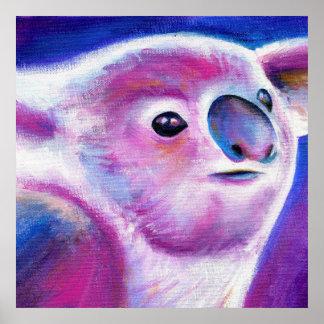 Poster Art animal lunatique de visage pourpre de koala