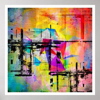 Poster Art coloré abstrait géométrique moderne