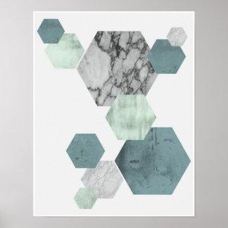 Poster Art côtier géométrique et scandinave d'hexagone de