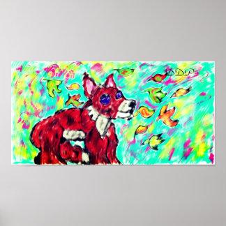 Poster art d'automne de renard