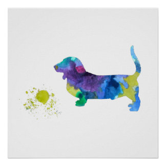 Poster Art de chien de basset