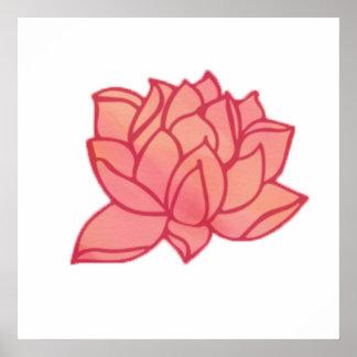 Poster Art de corail de mur de Lotus