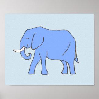 Poster Art de crèche d'éléphant de bébé dans le bleu