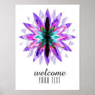 Poster Art de fleur de Lotus d'accueil de damassé de