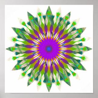 Poster Art de fleur de Lotus de damassé de mandala