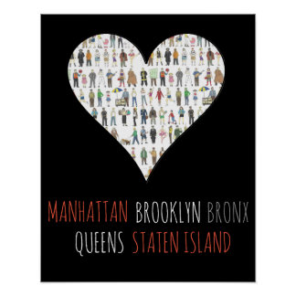 Poster Art de la Reine Manhattan SI de Brooklyn Bronx de