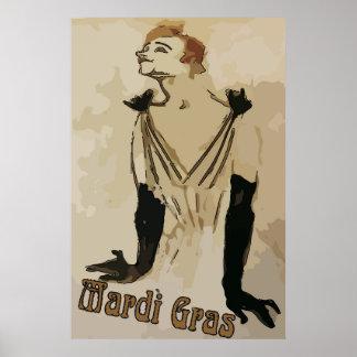 Poster Art de mardi gras, raboteuse de quartier français,