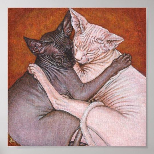Poster art de peinture de chat de sphinx de sphynx - Poster peinture ...