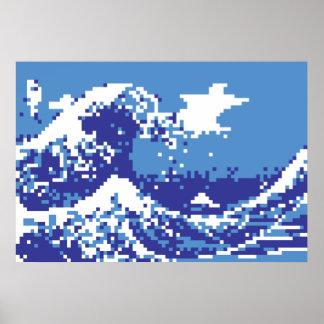 Poster Art de pixel de bit du bleu 8 de tsunami de pixel