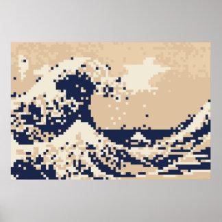 Poster Art de pixel de bit du tsunami 8 de pixel