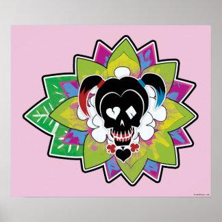 Poster Art de tatouage de crâne du peloton | Harley Quinn