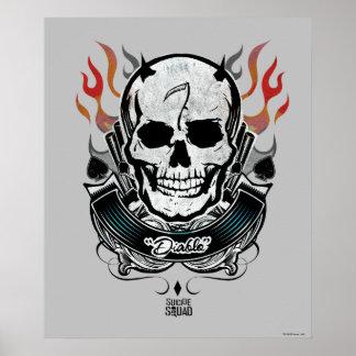 Poster Art de tatouage de crâne et de flammes du peloton