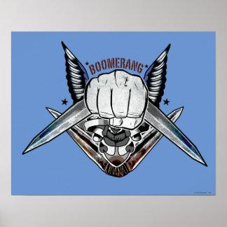 Poster Art de tatouage de poing de boomerang du peloton |