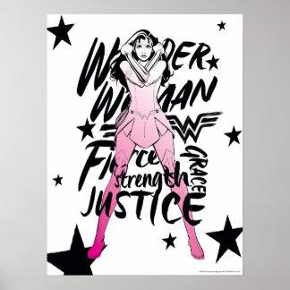 Poster Art de typographie de brosse de femme de merveille