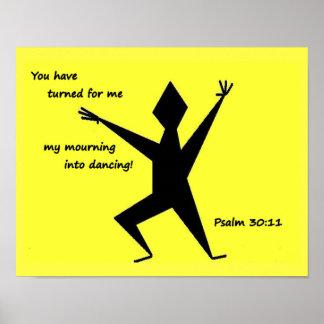 Poster Art d'écriture sainte de 30:11 de psaume de jaune