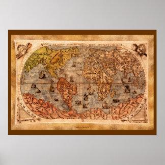Poster Art du 15ème siècle de carte de Vieux Monde