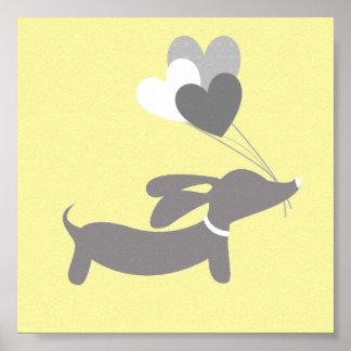 Poster Art gris et jaune de crèche de teckel avec des