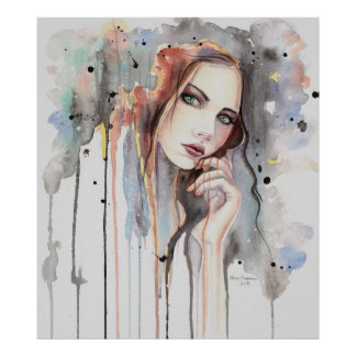 Poster Art mou de portrait d'abrégé sur aquarelle