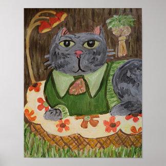 Poster Art populaire de chat d'années '70