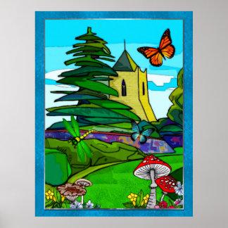 Poster Art populaire lunatique de jardin anglais