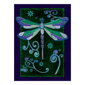 Poster Art populaire orné de bijoux élégant de libellule