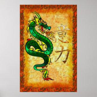 Poster Art traditionnel de PUISSANCE chinoise de dragon