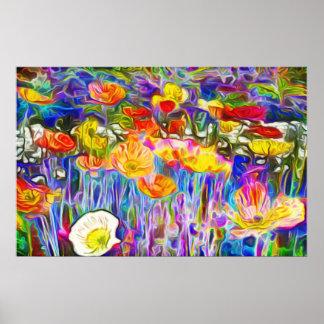 Poster Art vibrant de champ de pavot de couleurs