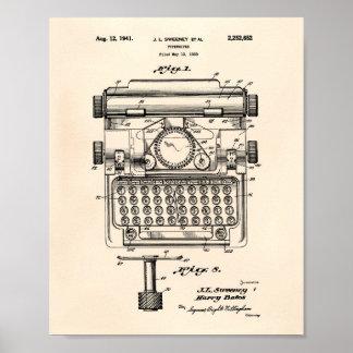 Poster Art vieux Peper de brevet de la machine à écrire