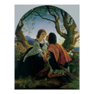Poster Art vintage, amants au crépuscule, monsieur Joseph