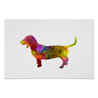 Poster Artesian Norman Basset in watercolor
