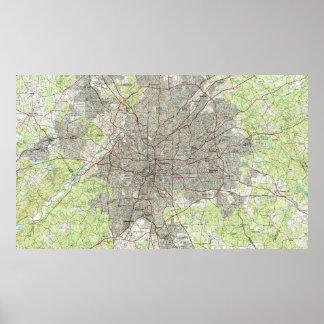 Poster Atlanta la Géorgie Map (1981)