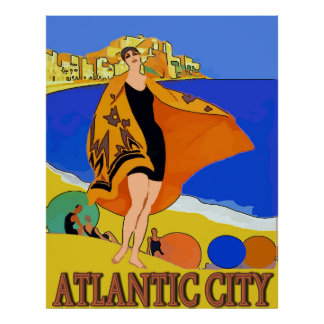 Poster Atlantic City, femme sur la plage de sable