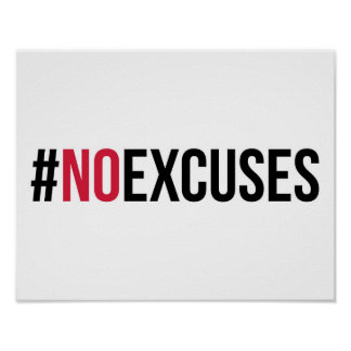 Poster Aucune citation de gymnase d'excuses