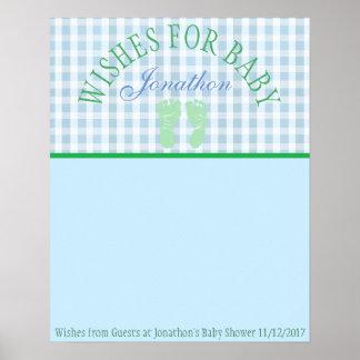 Poster Baby shower, souhaits pour le souvenir d'affiche