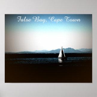 Poster Baie fausse, bateau à voile de Cape Town