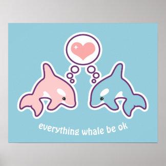 Poster Baleines mignonnes