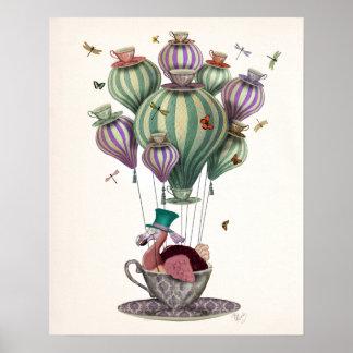Poster Ballon de dronte avec des libellules