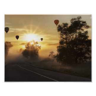 Poster Ballons au lever de soleil