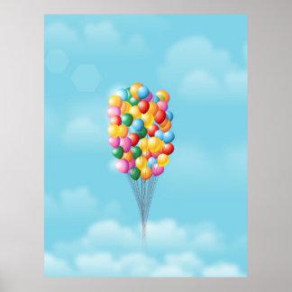 Poster Ballons de flottement et loin