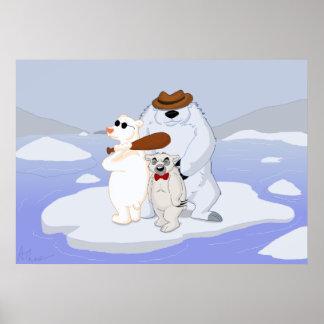 Poster Bande d'ours blanc de bande dessinée