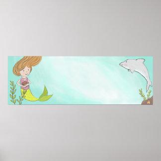 Poster Bannière nommée de sirène et de dauphin
