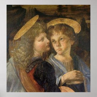 Poster Baptême des anges du Christ par Leonardo da Vinci