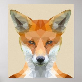 Poster Basse poly affiche mignonne de renard