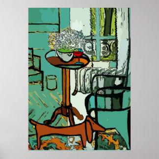 Poster Basset allemand vert de pièce, style de Matisse