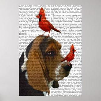 Poster Basset Hound et oiseaux